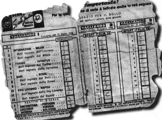 Prima schedina totocalcio almanacco for Schedina della domenica